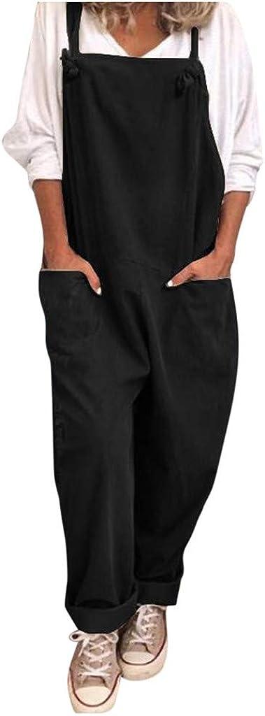 WUAI-Women Casual Loose Baggy Bib Pants Linen Cotton Wide Leg Harem Overalls Jumpsuits Casual Rompers Plus Size