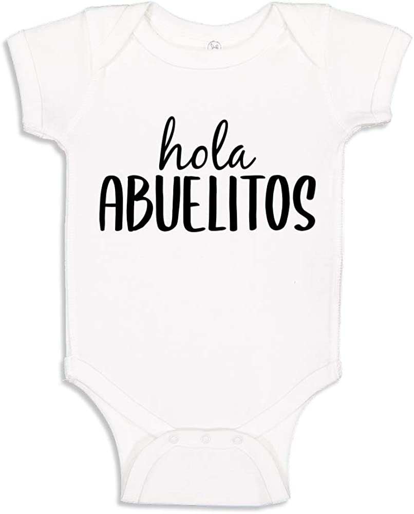 Spanish  Espa\u00f1ol Pregnancy Announcement Bodysuit Hola Abuelitos Baby Bodysuit Onesie