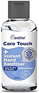 Careline Care Touch Instant Hand Sanitiser, 50ml, 75% Ethanol, Kills 99.9999% of Bacteria, Made in Australia