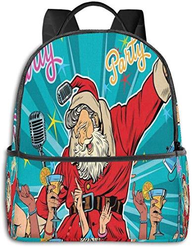 Schultasche Doppelte Schwarze Rucksäcke, Rock'n'Roll Singender Weihnachtsmann mit tanzenden Menschen auf der Weihnachtsfeier Retro-Pop-Art-Stil, lässiger Wanderreisetagruck 12 '5' 14,5 'LWH