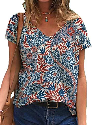 Wsgyj52hua 2021 Verano Mujeres Europeas Y Americanas Pintura Abstracta ImpresióN Camiseta De Manga Corta para Mujeres