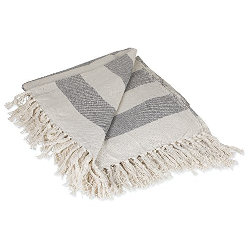 DII Rustic Farmhouse Cotton Cabana Striped Blanket Throw with Fringe For Chair, Couch, Picnic, Camping, Beach, & Everyday Use, 50 x 60' - Cabana Striped Gray