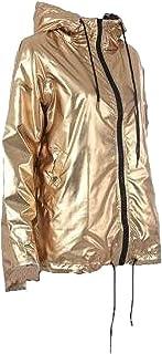 Women Waterproof Loose Fit Long Sleeve Hoodie Metallic Jacket Coat