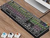 YPJKHM Teclado para computadora portátil Juego de Mouse, Teclado mecánico Teclado para Juegos Eje Verde Carpa metálica 104 Teclas Tecla Completa sin Pulsar una tecla Modo Dual-Black