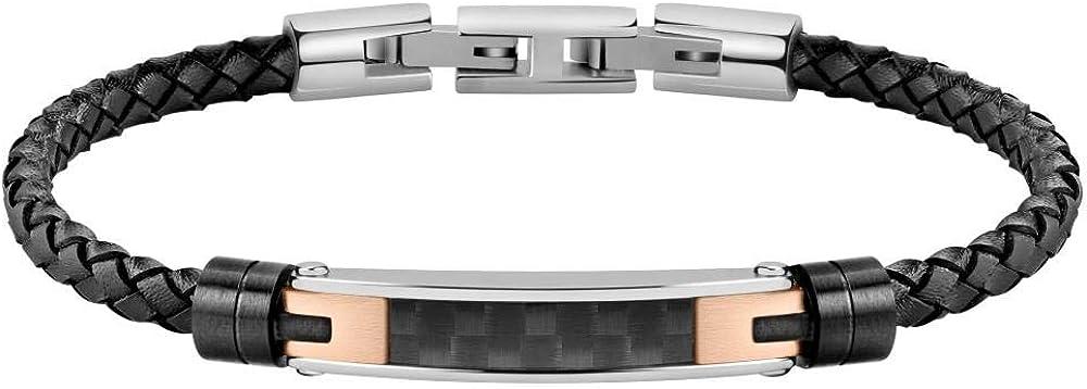 Morellato bracciale da uomo collezione moody in pelle ip nero acciaio e fibra di carbonio 8033288857327