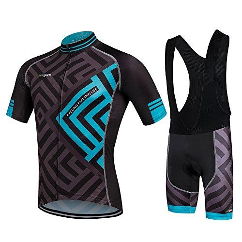 Cornasee Ropa Ciclismo Verano para Hombre Ciclismo Maillot y Culotte Pantalones Cortos (Enrejado,L)