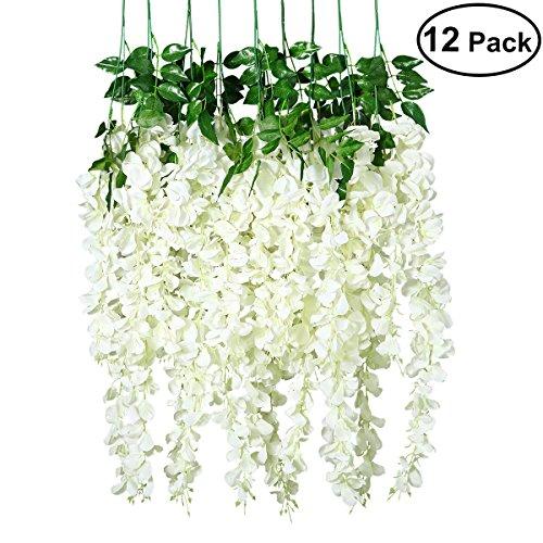Unomor - Confezione da 12 fiori finti di glicine artificiali, da appendere all'esterno, per decorazioni nuziali, 3,8 m