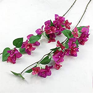 jiumengya 10pcs Silk Bougainvillea Glabra Climbing Bougainvillea Flower Vine with Green Leaf Artificial Bougainvillea Tree Branches 31.5″ for Wedding Centerpieces