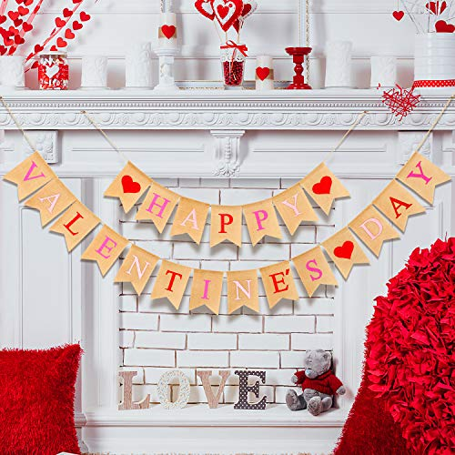 Farmhouse style Farmhouse Valentine decor ideas burlap banner.