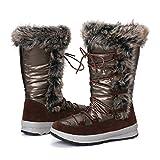 gracosy Botas Nieve Mujer Forro de Piel Invierno Antideslizante Plataforma Zapatos Calentar Cremallera Botines Cordones Impermeable Casuales Media Lluvia Botas Neg