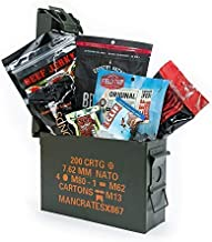 Man Crates Premium Jerky Ammo Can – The Ultimate Gift for Meat Lovers – Includes 3 Beef Jerky Flavors, Gourmet Almonds, Corn Nuggets And More – Ships In A Glorious, Steel Ammo Can He'll Love