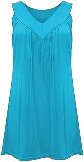 FSSE Women Solid Color Sleeveless Plus Size Tank V-Neck Tank Top Vest Blouse