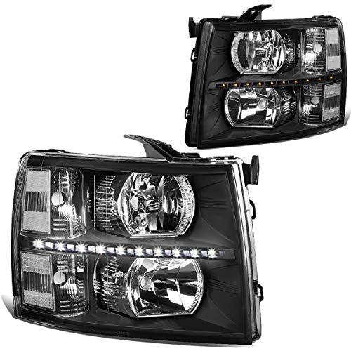 DNA Motoring HL-LED-CSIL07-BK-CL1 Pair LED DRL Strip Headlight/Lamp [For 07-14 Chevy Silverado]