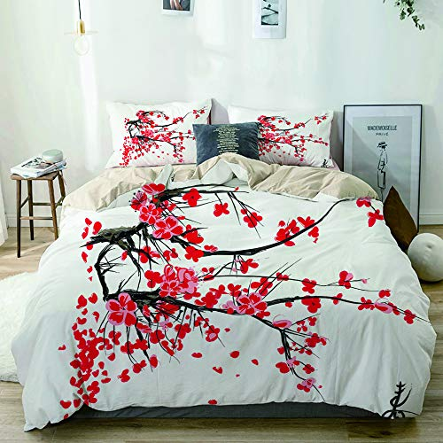 Minalo bedding-Duvet Cover Set,Beige,Sakura Blossom Jardin de cerisiers Japonais Summertime Vintage,Microfibre 135x200 with 2 Pillowcase 50x80,Single