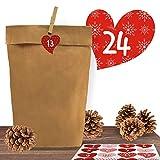 """24 Adventskalender Kraftpapiertüten mit 24 weihnachtlichen Aufkleber-Zahlen """"Romantischer Advent"""" zum Verschließen für den Adventskalender zum Basteln und Befüllen"""