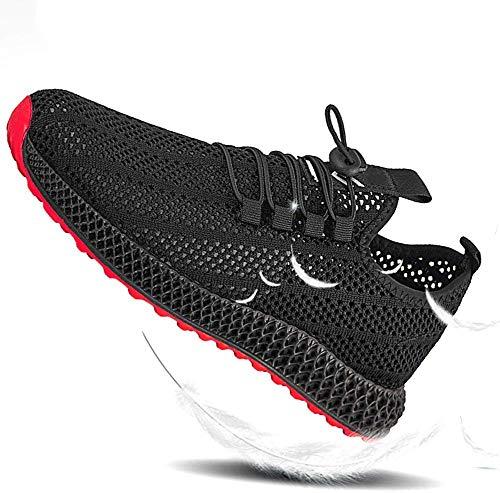 Baifeng Hombre Transpirable Monolayer Malla Zapatos Punto Exterior Sports Atletismo Atlético Zapatillas - Negro, 44