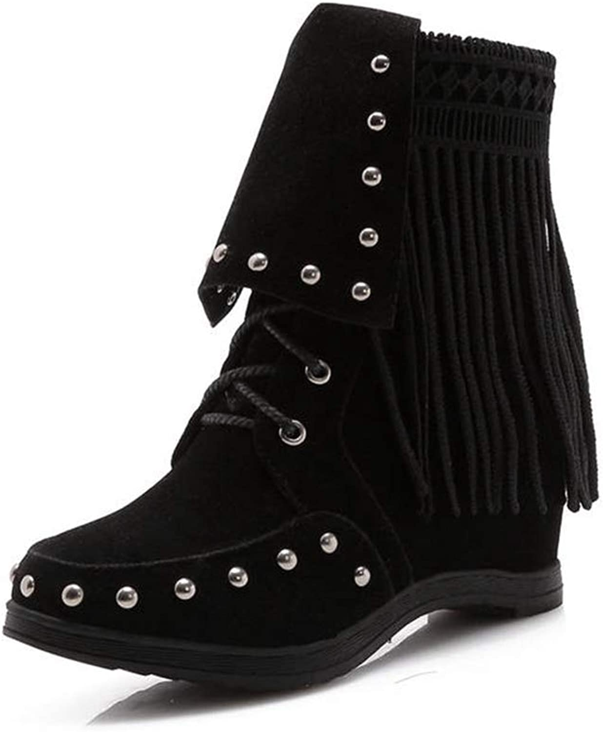 Beautiful - Fashion Women's Lace Up Ankle Boots Winter Comfortable Rivet Tassel Suede Footwear Flat Heel Short Boots