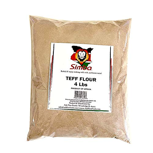 Simba African Teff Flour, 4 Pounds | Perfect for Baking, Flour for Injera | Gluten Free