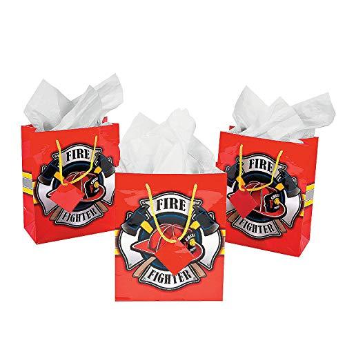 Firehouse Fireman Firefighter Gift Bags -12 pc