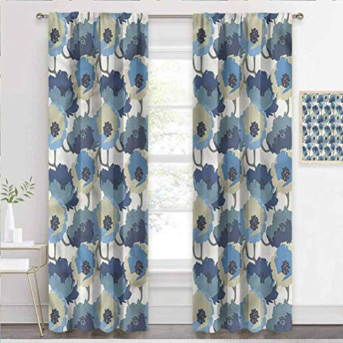 Window Curtain Floral, Ombre Romantic Flowers Window Panel Curtains for Living Room, Bedroom W72 x L84 Inch