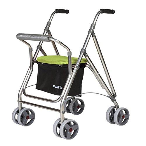Rollator voor senioren | aluminium rollator met zitting | inklapbare aluminium rollator | pistache kleuren