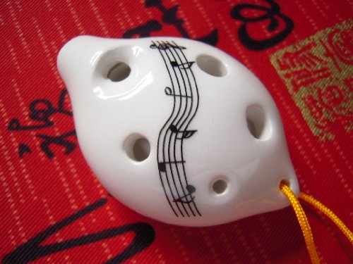 Dexterous 6 Holes Ceramic Ocarina Soprano C Key. Easy to Carry and Learn, Good for Beginner & Great Gift. Linn's Arts! (White W/music notes)