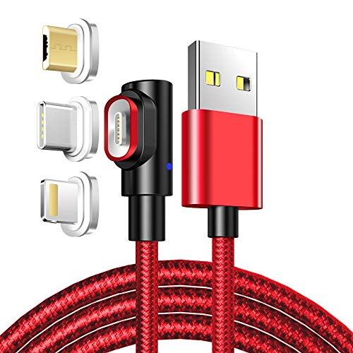 LAMA 90° Magnetisches USB Ladekabel 3A Datenkabel 1M Magnet Kabel High Speed Sync und Schnellladekabel mit Blitz Type C Micro USB Magnetstecker für Phone Android Windows Phone