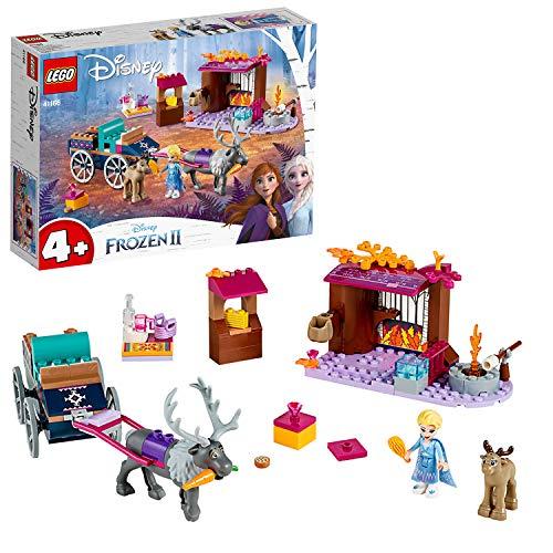 LEGO DisneyFrozenII L'AvventurasulCarrodiElsa con Mini-doll della Principessa Elsa e 2 Figure di Renne, Facile da Costruire con Piattaforma di Base, Bambini in Età Prescolare 4-7 Anni, 41166