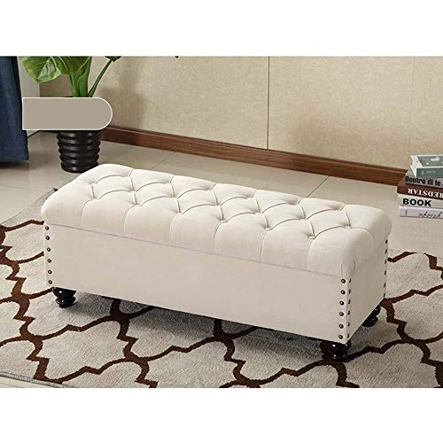 FFZW Storage Benches Long Sofa Stool Shoe Change Stool|European Style Storage Stool Home Bedroom Bed End Stool|Storage Stool Fitting Room Rest Stool (Color : Beige, Size : L120×H45×W45cm)