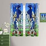 Sonic Cortinas opacas para ventana de cocina, Sonic the Erizo Tratamiento de ventana con ojales para...