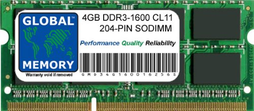 4GB DDR3 1600MHz PC3-12800 204-PIN SODIMM MEMORY RAM FOR LAPTOPS/NOTEBOOKS