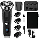 Ceenwes Electric Razor Waterproof Cordless Clippers Hair Trimmer Mens Rechargeable Barber Shavers with Electric Shaver Head 4 Guide Combs for Men Kids Babies (Black)