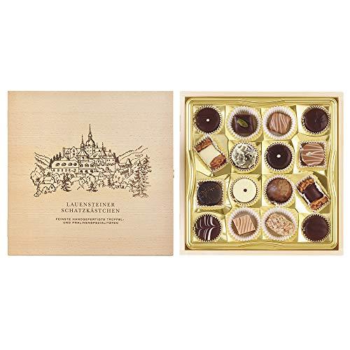 Lauensteiner Schatzkästchen - 200g feinste Trüffel und Pralinen, 16-fach sortiert mit/ohne Alkohol in edler Geschenkbox aus Holz - Zum Geburtstag oder einfach so, 1er Pack