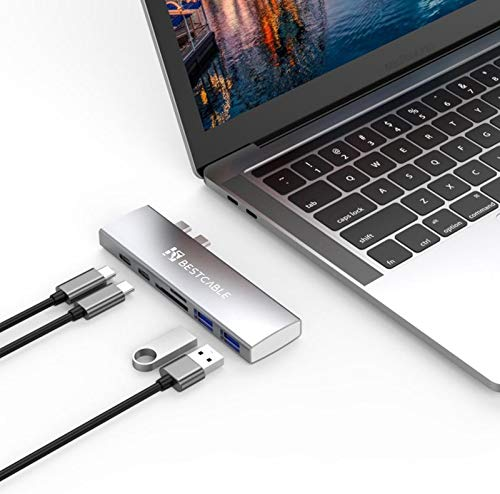 Dual USB C Hub, BEST CABLE 7in1 Hub Adapter for MacBook Pro 2016-2020/Air2018-2020,40Gbs Thunderbolt 3 pass-through 100W charging/USB C data port/HDMI 4K video/2 USB 3.0 Port/SD/TF card reader(Silver)
