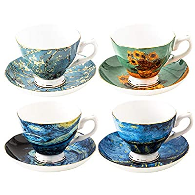 Van Gogh Tea Set, Set of 4 Glasses with Beautifully Painted Van Gogh Art, Fine Bone China Van Gogh Mugs - Set of 4-8oz. by Gute Kitchen
