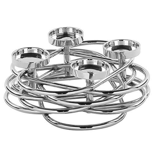 Fink - Adventskranz - Adventsleuchter - Kerzenleuchter - Duplex - Metall, vernickelt - Maße (ØxH): 26 x 8,5 cm