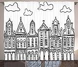 ABAKUHAUS Ámsterdam Cortinas, Casas de Pueblo temático, Sala de Estar Dormitorio Cortinas Ventana Set de Dos Paños, 280 x 175 cm, Blanco Gris carbón