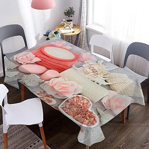 Mantel de decoración con Estampado de Velas aromáticas, Mantel Rectangular Impermeable para Mesa de Boda, Mantel de Cocina para el hogar M-1 140x200cm