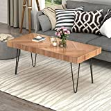 Modern Wood Coffee Table, Nature Cocktail Table for Living Room Chevron Pattern & Metal Hairpin Legs, Nature Rustic Rectangular Table (Glossy Finished Oak)