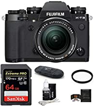FUJIFILM X-T3 Mirrorless Digital Camera with XF 18-55mm f/2.8-4 R LM OIS Zoom (Black) Bundle, Includes: SanDisk 64GB Extreme PRO SDXC Memory Card, Card Reader and More