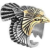 LH&BD Hombres Acero Inoxidable Odin's Raven Viking Ring Unisex Nordic Animal Pájaro Cuervo Personalizar Joyería de Amuleto,Oro,10