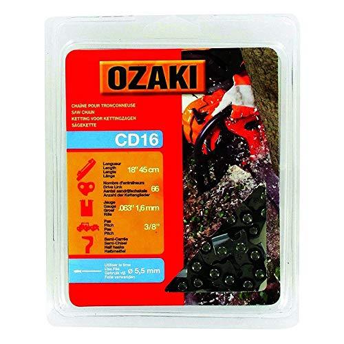 Ozaki - Cadena de motosierra, semicuadrada, carcasa de 3/8' – 063 (1,6 mm) – 66 entrenadores – Longitud: 45 cm