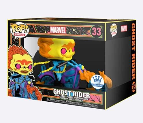 Funko Pop! Marvel - Figura de vinilo Ghost Rider Deluxe Rides (luz negra) – Funko Exclusive