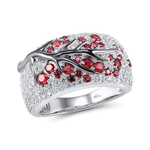 Santuzza 925 Sterling Silver Ring Delicate Pink Cherry Tree Created Ruby Shiny White Cubic Zirconia (7.5)