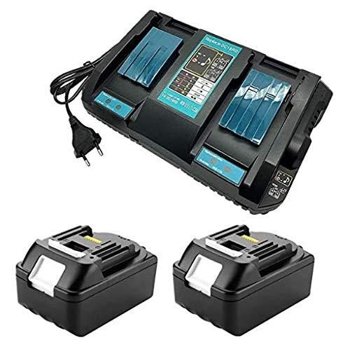 URUN Batería de litio 2B1850, 18 V, 5,0 Ah, con cargador de doble canal de 4 A, repuesto para radio de obras Makita DMR110, recortadora de césped DUR181Z, taladro atornillador DHP482Z