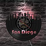YHZSML San Diego Cityscape Port City of California USA Vinyl Record Reloj de Pared Skyline Moderno...