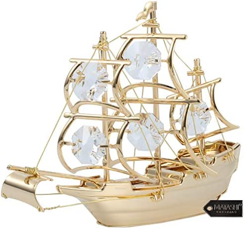 Matashi 24K Gold Plated Highly Polished Mayflower Ship Ornament Crystal Studded Figurine Tabletop product image