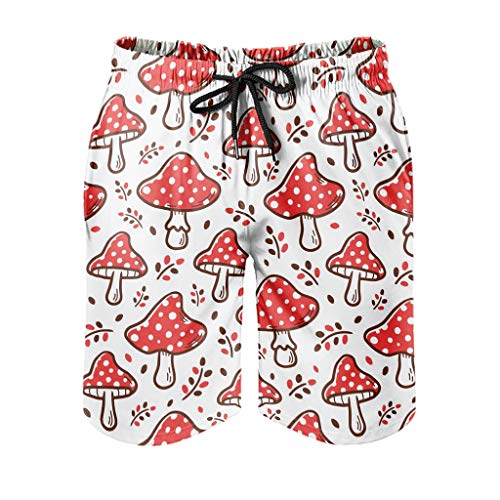 Gamoii Bañador para hombre con diseño de setas rojas, para surf, con forro de malla, con cordón, bolsillos laterales, color blanco, 2XL