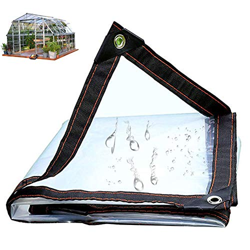 Iook Tarps Clear with Grommets, Clear Tarps Heavy Duty Waterproof, Easy to Folding Transparent Weatherproof Tarpaulin Cover Outdoor Garden Patio Curtain Sunscreen,3mX5m/10x16ft