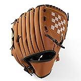 Gants de baseball Dingzhao - En cuir synthétique - Pour attrape-main gauche - 26,7 cm - 31,8 cm - Pour adultes et jeunes enfants (marron, enfants (26,7 cm)